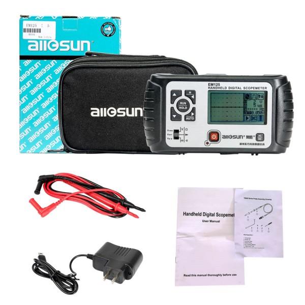 All-sun LCD Backlight EM125 25MHz 100MSa/s Digital 2 in1 Handheld Portable Oscilloscope+Multimeter Single Channel Waveform USB