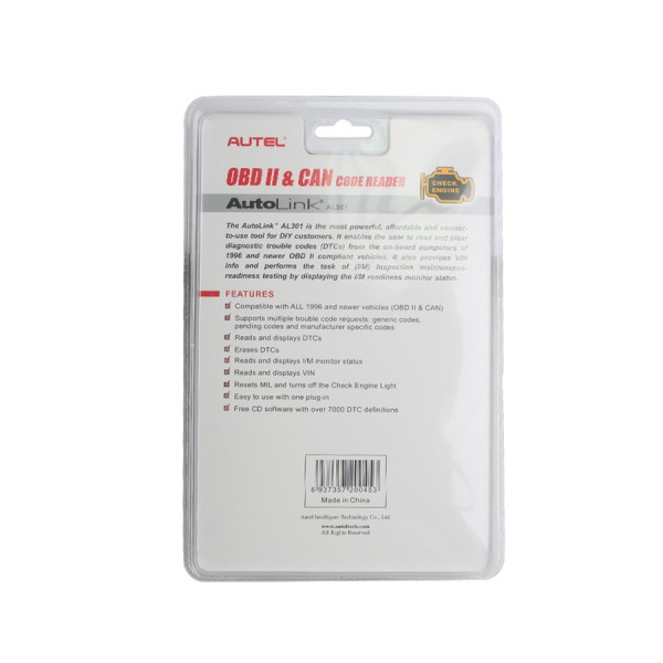 Autel AutoLink AL301 OBDII/CAN DIY Code Scanner