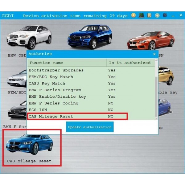 CAS Mileage Reset Authorization for CGDI Prog BMW