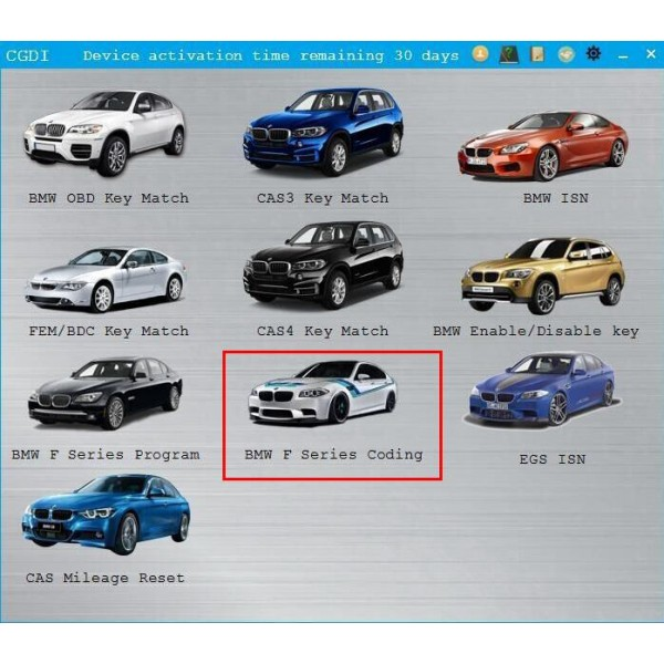 BMW F Series Coding Authorization for CGDI Prog BMW