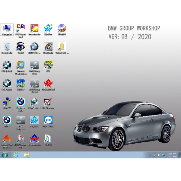V2020.08 Win7 Rheingold ISTA-D V4.24 and ISTA-P V3.67.1 for BMW ICOM with Engineer Programming