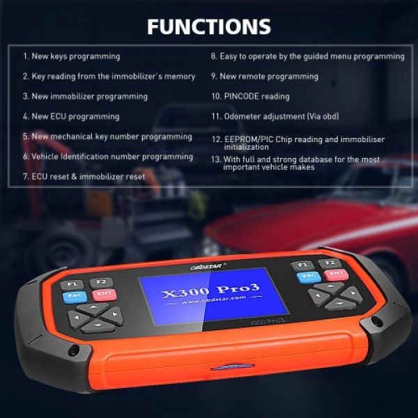 OBDSTAR X300 PRO3 X-300 Key Master with Immobiliser + Odometer Adjustment +EEPROM/PIC+OBDII