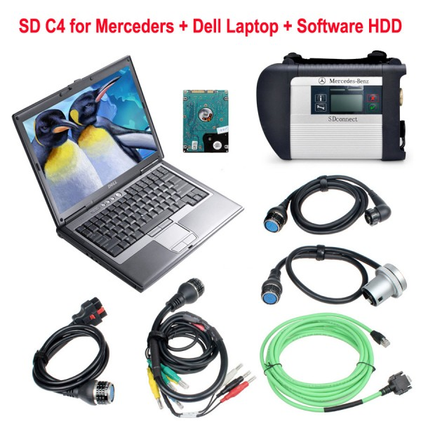 SD Connect C4 Star Diagnosis With Dell D630 Laptop 4GB Memory 2020.03V HDD Software For Benz